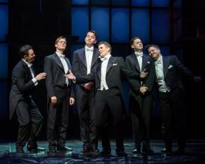 Matt Bailey, Will Taylor, Douglas Williams, Shayne Kennon, Chris Dwan and Will Blum in Barry Manilow's HARMONY at the Ahmanson Theatre, Los Angeles.