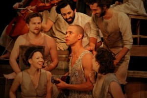 Max Baumgarten, Cassandra B Ward, Mark Skeens, Zachary Carlisle, Reuben Liversidge and Caitlyn Conlin in Four Larks' production of ORPHEUS. Photo by Stephanie Butterworth.
