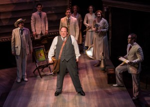 Michael Aaron Lindner and ensemble in Chicago Shakespeare Theater's production of ROAD SHOW, directed by Gary Griffin.