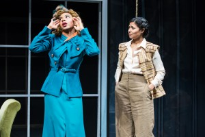 "Sameerah Luqmaan-Harris and Jolly Abraham in Jean-Paul Sartre's ""No Exit,"" adapted from the French by Paul Bowles, and directed by Linda Ames Key, Off-Broadway at The Pearl Theater Company."