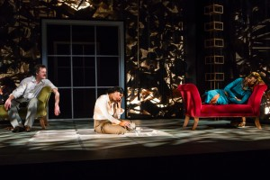 """Branford Cover, Sameerah Luqmaan-Harris, and Jolly Abraham in Jean-Paul Sartre's """"No Exit,"""" adapted from the French by Paul Bowles, and directed by Linda Ames Key, Off-Broadway at The Pearl Theater Company."""