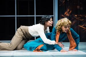 """Jolly Abraham and Sameerah Luqmaan-Harris in Jean-Paul Sartre's """"No Exit,"""" adapted from the French by Paul Bowles, and directed by Linda Ames Key, Off-Broadway at The Pearl Theater Company."""