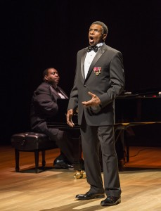 Keith David (center) with Byron J. Smith (background) in PAUL ROBESON by Phillip Hayes Dean.  Photos courtesy of Ebony Repertory Theatre.  Photo by Craig Schwartz.