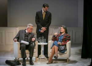 Peter Brouwer (Lester), Jeff Woodman (Burt), and Marcia Rodd (Mary McCarthy) in Brian Richard Mori's HELLMAN v. MCCARTHY Off-Broadway at Abingdon Theatre.