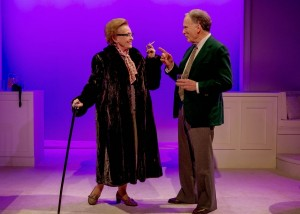 Roberta Maxwell (Lillian Hellman) and Dick Cavett (as himself) in Brian Richard Mori's HELLMAN v. MCCARTHY Off-Broadway at Abingdon Theatre.