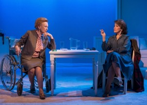 Roberta Maxwell (Lillian Hellman) and Marcia Rodd (Mary McCarthy) in Brian Richard Mori's HELLMAN v. MCCARTHY Off-Broadway at Abingdon Theatre.