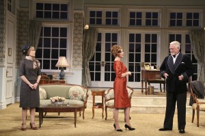 Roxanne Hart, Sharon Lawrence and Bruce Davison in Noël Coward's A SONG AT TWILIGHT at Pasadena Playhouse.