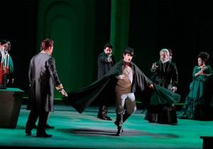 Saimir Pirgu as Edgardo (with ensemble) in LA Opera's LUCIA DI LAMMERMOOR.