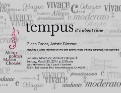 Post image for Los Angeles Music Review: TEMPUS (Metropolitan Master Chorale in West Hollywood)