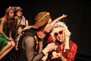 Tess Frazer as PERDITA, Jon-Michael Miller as FLORIZEL, Jacob Callie Moore as CLOWN, and Robert Meksin as AUTOLYCUS in WorkShop Theatre's THE WINTER'S TALE.