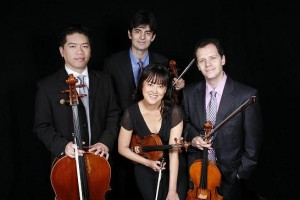 The Avalon String Quartet - Cheng-Hou Lee, cello, Blaise Magniere, violin, Marie Wang, violin (front), and Anthony Devroye, viola.