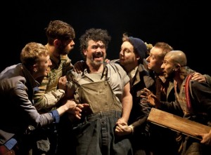 "The mechanicals (Fionn Gill, Colin Michael Carmichael, Miltos Yerolemou, David Emmings, Jon Trenchard, Saikat Ahamed) in ""A Midsummer Night's Dream"" by Bristol Old Vic & Handspring Puppet Company."