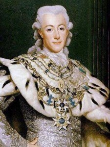 Titled REY DE SUECIA, this 1777 painting by Alexander Roslin depicts Swedish King Gustav III.