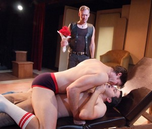 (front) Kevin Held, Matt Crabtree and (rear) Richard Sabine in DOCTOR ANONYMOUS at the Zephyr Theatre.