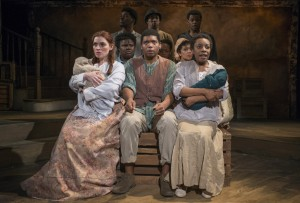 "(front row, l to r) Harmony France, Jayson ""JC"" Brooks and Sydney Charles (second row, l to r) Jasondra Johnson, Eunice Woods and Sasha Smith, (back row, l to r) Gilbert Domally, Steven Perkins and Jaymes Osbourne in Bailiwick Chicago's production of DESSA ROSE."
