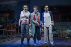 Caroline Neff (Meesh), Dierdre O'Conell (Mom), and Zoe Perry (Manda) in Steppenwolf's production of THE WAY WEST.