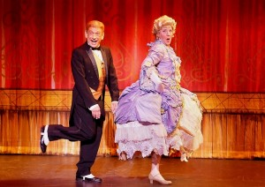 Danny Michael as Underling and Lindsay Brooks as Mrs. Tottendale in THE DROWSY CHAPERONE at the Norris Center.