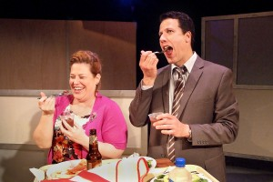 Deidra Edwards and Jonathan Bray in Neil LaBute's FAT PIG at the Hudson Theater.