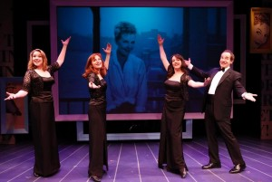Emily Skinner, Lynne Halliday, Cameron Adams and Jason Graae in INVENTING MARY MARTIN at the York.