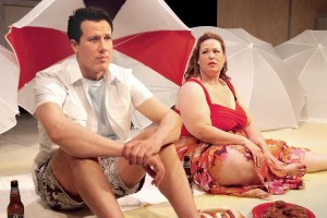 Jonathan Bray and Deidra Edwards in Neil LaBute's FAT PIG at the Hudson Theater.