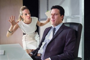 Kirsten Kollender and Jonathan Bray in Neil LaBute's FAT PIG at the Hudson Theater.