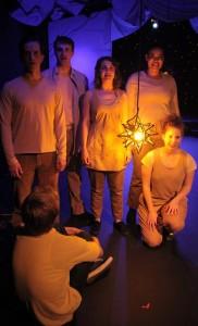 (L to R, rear) Kurt Quinn, TJ Marchbank, Ivy Khan, Malika Williams, Joey Nicole Thomas, and (sitting) Cody Klop.