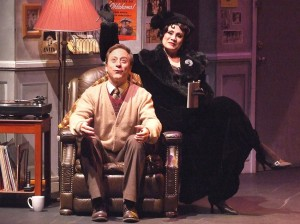 Larry Raben  as Man in Chair and Tracy Lore as the titular THE DROWSY CHAPERONE at the Norris Center.