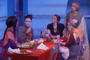 Linda Park, Karianne Flaathen, Sally Hughes, Rhonda Aldrich and Etta Devine in TOP GIRLS at Antaeus.