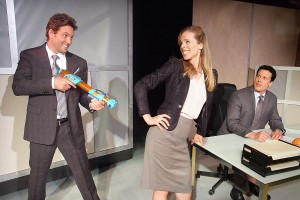 Nick Stabile, Kirsten Kollender, and Jonathan Bray in Neil LaBute's FAT PIG at the Hudson Theater.