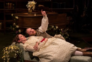 Rebecca Spence and Andrew White in Lookingglass's production of IN THE GARDEN, A DARWINIAN LOVE STORY.