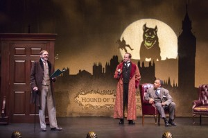 Ron Campbell, Darren Bridgett, and Michael Gene Sullivan in TheatreWorks' production of THE HOUND OF THE BASKERVILLES. Photo by Tracy Martin.