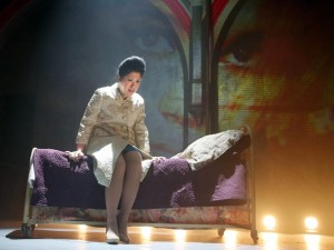 Ruthie Ann Miles in HERE LIES LOVE at The Public Theatre.