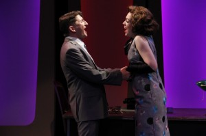 Tyler Ravelson as J. Pierrepont Finch and Elizabeth Telford as Rosemary in Porchlight's HOW TO SUCCEED IN BUSINESS WITHOUT REALLY TRYING.