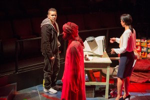 (from left) Rey Lucas as Elliot Ortiz, M. Keala Milles, Jr. as Ghost, and Sarah Nina Hayon as Yazmin Ortiz in the California Premiere of Quiara Alegría Hudes's Pulitzer Prize-winning play Water by the Spoonful, directed by Edward Torres, April 12 - May 11, 2014 at The Old Globe. Photo by Jim Cox.