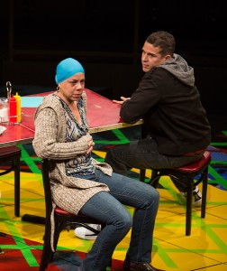 Marilyn Torres as Odessa Ortiz aka Haikumom and Rey Lucas as Elliot Ortiz in the California Premiere of Quiara Alegría Hudes's Pulitzer Prize-winning play Water by the Spoonful, directed by Edward Torres, April 12 - May 11, 2014 at The Old Globe. Photo by Jim Cox.