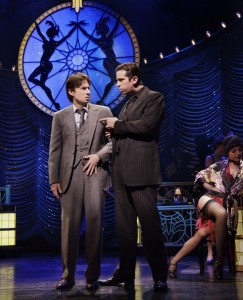 Zach Braff and Nick Cordero in BULLETS OVER BROADWAY.