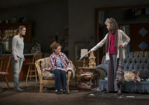 Zoe Perry (Manda), Dierdre O'Conell (Mom), and Martha Lavey (Tress) in Steppenwolf's production of THE WAY WEST.