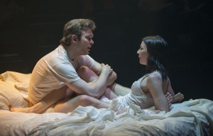 (left to right) Drew Schad and Kate LoConti in Shattered Globe Theatre's production of MILL FIRE by Sally Nemeth, directed by Sandy Shinner