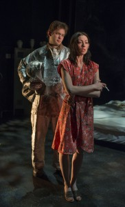 (left to right) Drew Schad and Kate LoConti in Shattered Globe Theatre's production of MILL FIRE by Sally Nemeth, directed by Sandy Shinner.