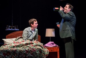 Alex Stage (Aunt Susan) and Marc Grapey (Steve) in Ask Aunt Susan by Seth Bockley, directed by Henry Wishcamper at Goodman Theatre.