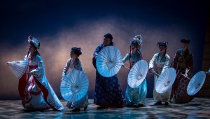 Amy Kim Waschke forms the head of the White Snake, which includes ensemble members Eliza Shin, Cristofer Jean, Stephenie Sooyhun Park, Tanya Thai McBride and Lisa Tejero in The White Snake.
