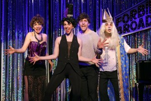 Carter Calvert, Mia Gentile, Scott Richard Foster, Marcus Stevens in a scene from Gerard Alessandrini's FORBIDDEN BROADWAY COMES OUT SWINGING!