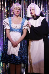 Carter Calvert and Mia Gentile in a scene from Gerard Alessandrini's FORBIDDEN BROADWAY COMES OUT SWINGING!