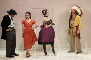 Chris Myers (M'Closky), Amber Gray (Zoe), Zoë Winters (Dora), Danny Wolohan (Wahnotee) in Branden Jacobs-Jenkins' AN OCTOROON at SoHo Rep.