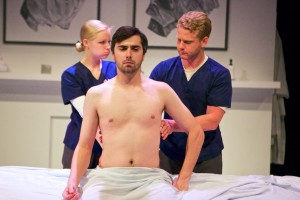Clare O'Connor, Matt Fletcher and Andy Lutz in Sideshow Theatre Company's world premiere of TYRANT, by Kathleen Akerley, co-directed by Kathleen Akerley and Megan A. Smith.