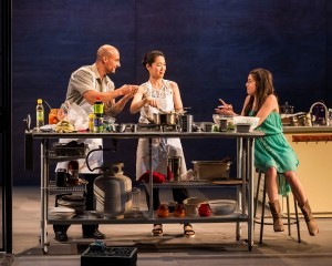 Hector Atreyu Ruiz, Jackie Chung and Savannah Lathem in different words for the same thing at the Kirk Douglas Theatre.