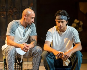 Hector Atreyu Ruiz and Erick Lopez in different words for the same thing at the Kirk Douglas Theatre.