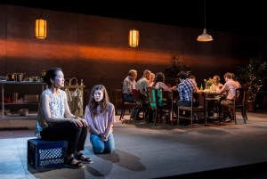 Jackie Chung, Devin Kelley and the cast in different words for the same thing at the Kirk Douglas Theatre.