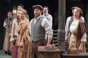 Irish townspeople (pictured from left: Kathleen Gibson, Jordan Brown, Emily Glick, Anne Sheridan Smith, Michael Reckling, Andy Robinson, Matthew Keffer and Caron Buinis) are troubled by their country's conflict with the British in TimeLine Theatre's Chicago premiere production of the musical JUNO, book by Joseph Stein, music and lyrics by Marc Blitzstein, based on the play Juno and the Paycock by Sean O'Casey, directed by Nick Bowling with music direction by Doug Peck and Elizabeth Doran, presented at TimeLine Theatre, 615 W. Wellington Ave., Chicago, April 23 - July 27, 2014.