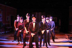 Kyle Bares, Jean Altadel, Emma Jayne Appleyard, Daniel Lench, Suzy London, Andrew Bourgeois, and Gregory Guy Gorden in The Group Rep's THE GHOST OF GERSHWIN at the Lonny Chapman Theatre.